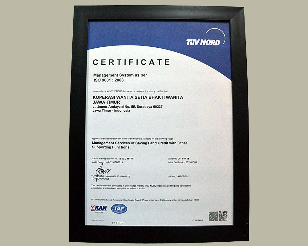 SBW Berhasil Meraih ISO 9001-2008